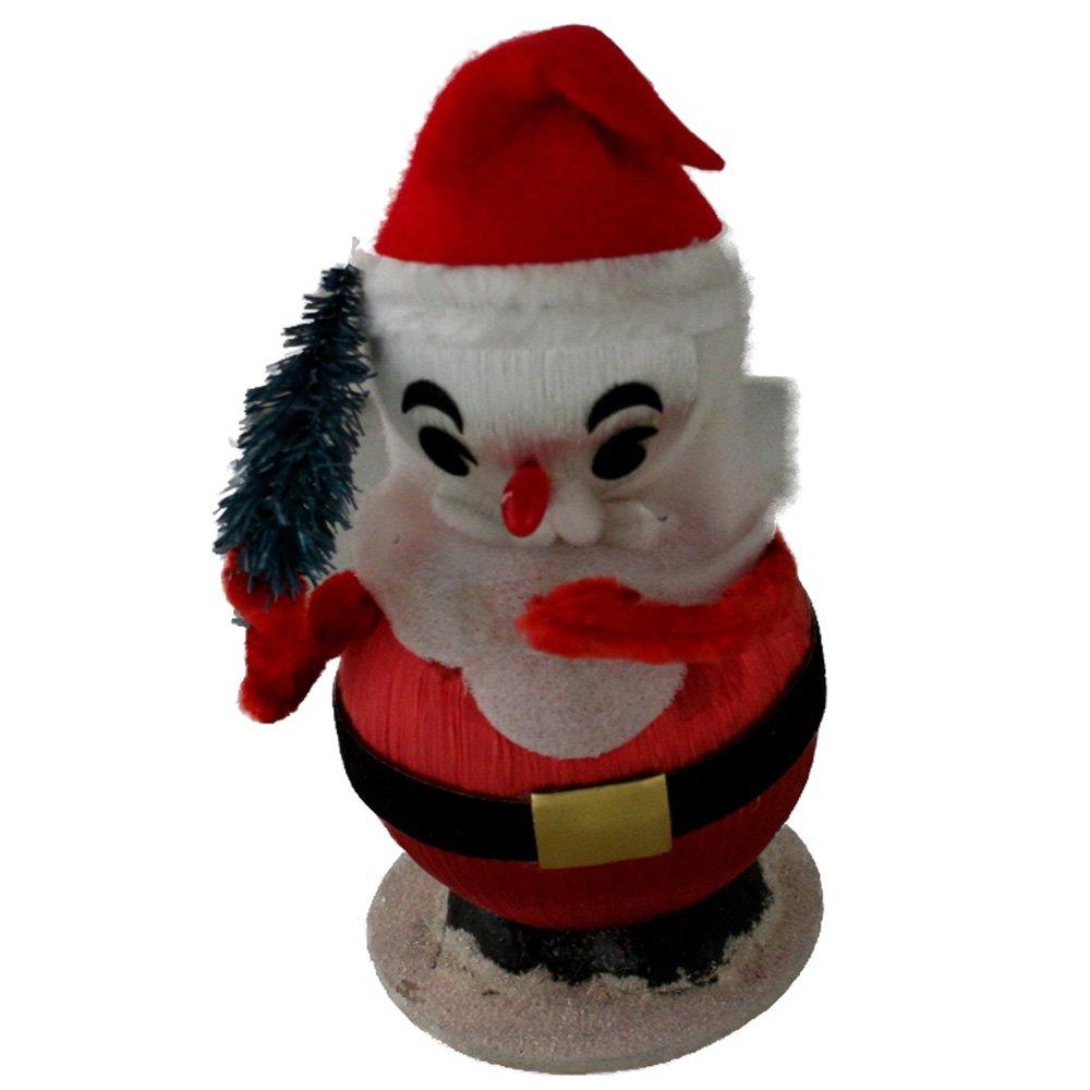 Satin Ball,Felt & Chenille Santa VINTAGE Figurine 5 Inches
