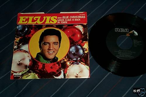 Elvis Presley Rare 45 with sleeve Blue Christmas/Santa