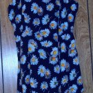 DARK BLUE SPAGHETTI STRAP DRESS WITH WHITE FLOWERS SIZE MEDIUM