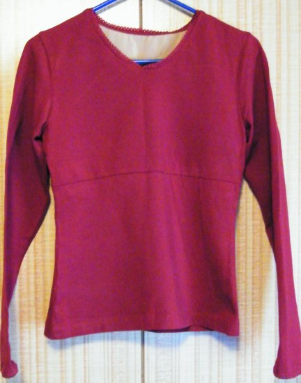NEWPORT NEWS MAROON LONG SLEEVED BLOUSE