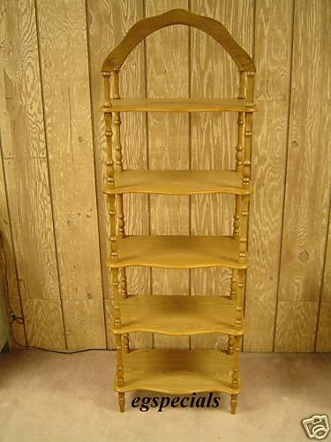 5 TIER WOODEN SHELF/DISPLAY STAND IN OAK FINISH ~ NEW