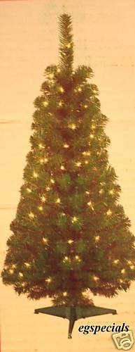 4 FT PRE-LIT ARTIFICIAL GREEN CHRISTMAS TREE W/STAND