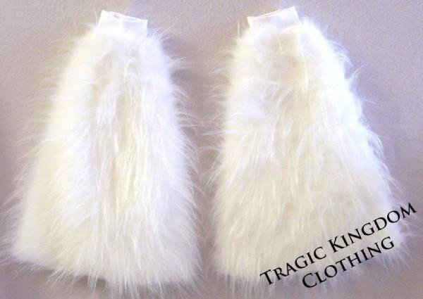 White Fur Leg Warmers Fluffies Playa Wear