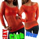 Orange Diamond Fishnet Long Sleeve Top