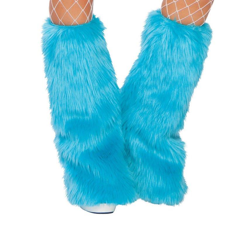 Turquoise Luxury Fur Leg Warmers Fluffies Playa Wear