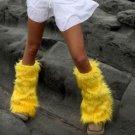 YELLOW Luxury Fur Leg Warmers Fluffies Playa Wear