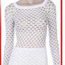 White Diamond Fishnet Long Sleeve Top