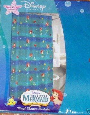 Disney Little Mermaid Vinyl Shower Curtain NEW Ariel
