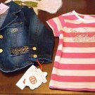 Red By Marc Ecko 24 Mos 24M Jean Jacket Pink White Top