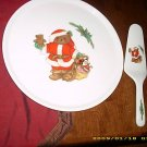 MIKASA CHRISTMAS BEAR CAKE PLATE & SERVER HOLIDAY