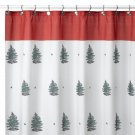 Spode Christmas Tree Fabric Shower Curtain NEW NIP Red