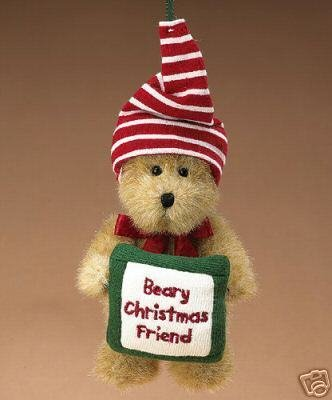 Boyds Plush Ornament Beary Christmas Friend NEW Retired