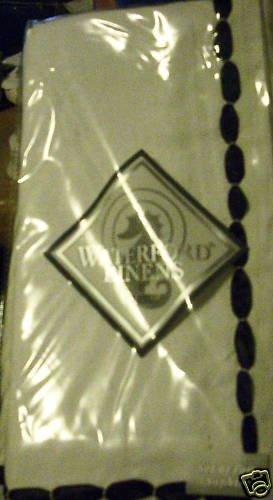 Waterford Black White Ribbon Napkin Set of 4 NIP NEW