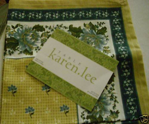 "KAREN LEE FLORAL NAPKIN SET 4 NEW 20 X 20"" BLUE GOLD"