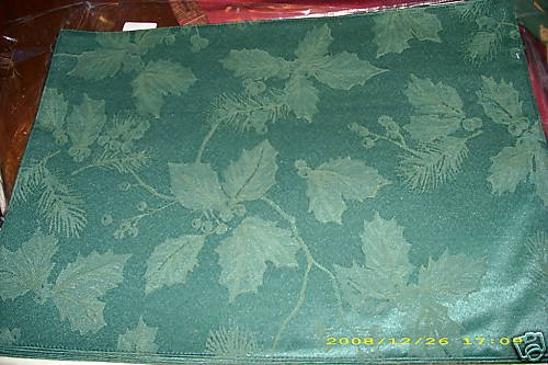 """SPODE HOLLY PLACEMAT SET OF 4 GREEN NEW NIP 13 X 18"""""""