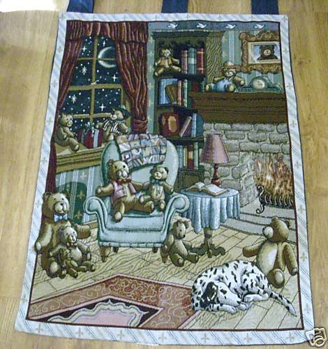 Teddy Bear Wall Tapestry Fireplace Dog