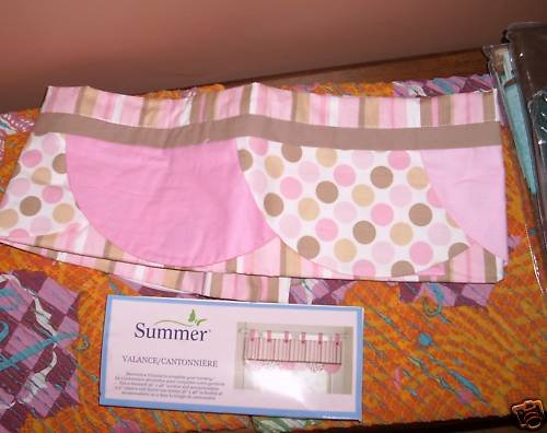 NEW Summer ABC Mod Girl Tab top Valance Stripe Dot Pink