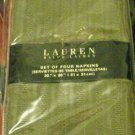 RALPH LAUREN LANDON OLIVE NAPKIN SET OF 4 NEW NIP