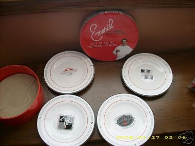 Set of 4 Emeril Quotes Salad Plates Boxed Bam Kick It