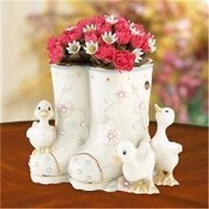 Lenox Petals & Pearls Ducks Bud Vase NEW NIB Boots