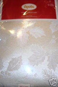 Spode Holly White Damask Tablecloth 70 Round NEW NIP