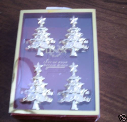 Lenox Napkin Rings Gold Holiday Noel Christmas Tree NEW