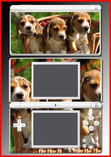Dogs Puppies BEAGLES game SKIN #1 for Nintendo DS Lite
