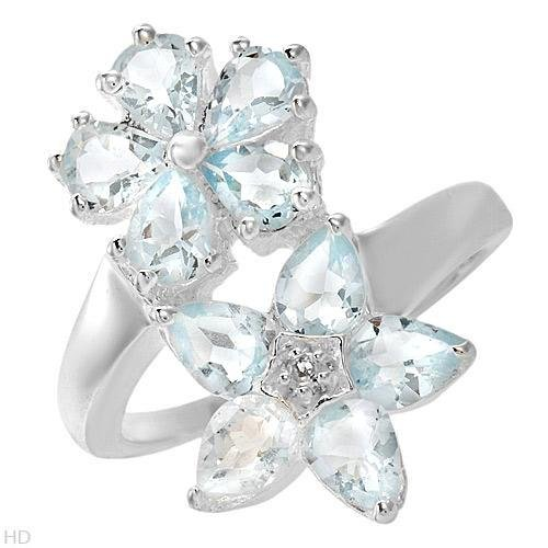 STERLING SILVER FLOWER AQUAMARINE &  TOPAZ FLOWER RING
