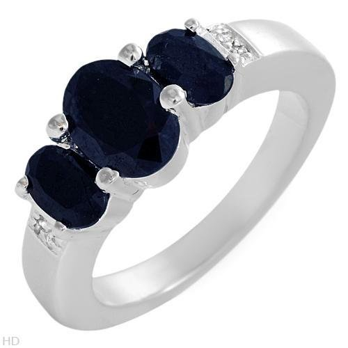 BEAUTIFUL STERLING SILVER RING WITH SAPPHIRES & TOPAZES