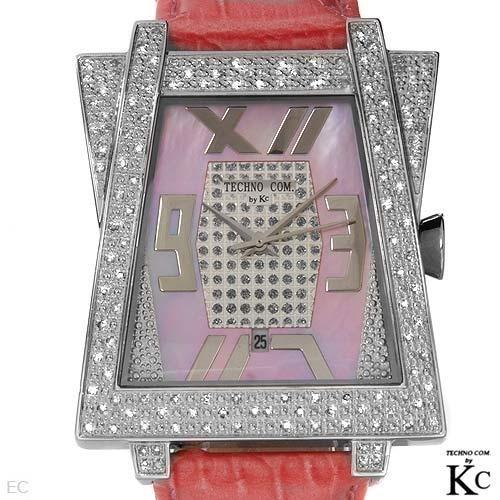 TECHNO COM BY KC: DIAMOND WATCH W/ 3 BANDS STUNNING
