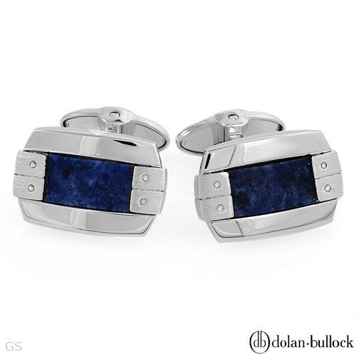 Dolan Bullock Stl Silver Cuff Links W/Genuine Sodolites