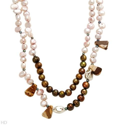 STUNNING AGATE AND FRESHWATER PEARL NECKLACE