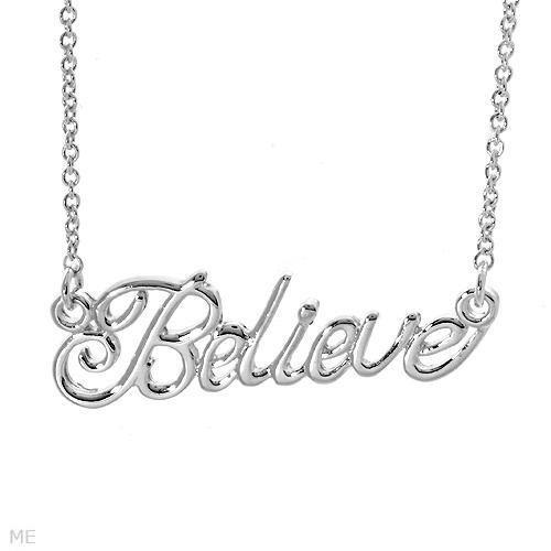 "BEAUTIFUL ""BELIEVE"" STERLING SILVER NECKLACE"