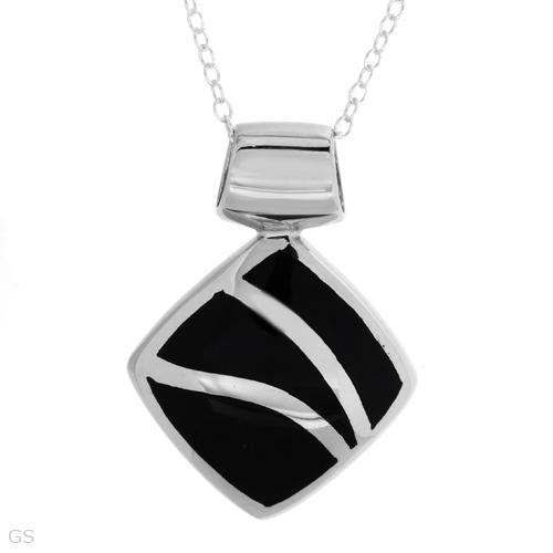 STERLING SILVER WITH BLACK ONYX PENDANT NECKLACE