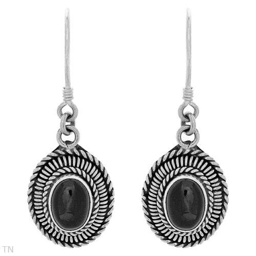 BEAUTIFUL STERLING SILVER  EARRINGS WITH ONYX