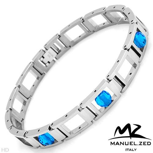 MANUEL ZED Made in Italy:Stainless Steel w/Crystals