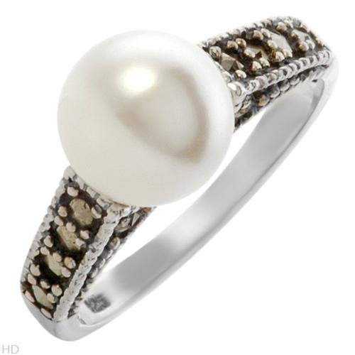 STERLING SILVER FAUX PEARL & MARCASITE RING