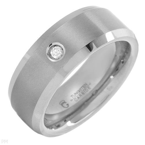 STUNNING TUNGSTEN WITH DIAMOND BAND MEN'S RING
