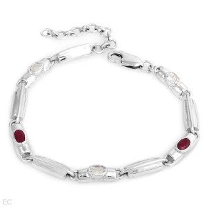 ELEGANT STERLING SILVER WITH RUBIES & TOPAZ