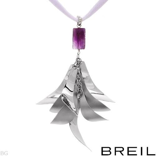 BREIL Stunning Amethyst/Stainless Steel Necklace