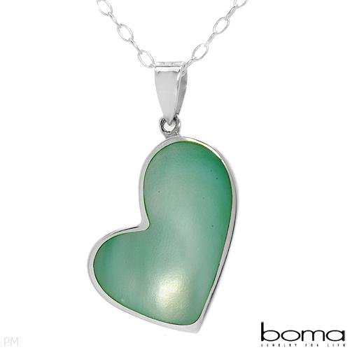 BOMA Mother of Pearl Heart Necklace Silver Retail $115