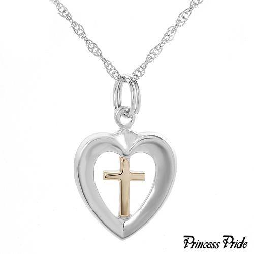 PRINCESS PRIDE 14K/Sterling Silver Cross Necklace CUTE