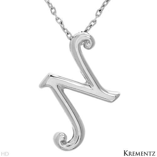 "KREMENTZ Sterling Silver Initial ""N"" Necklace"