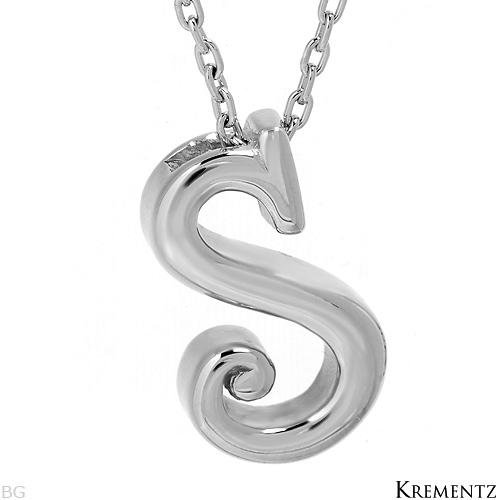 """KREMENTZ Sterling Silver Initial """"S"""" Necklace"""