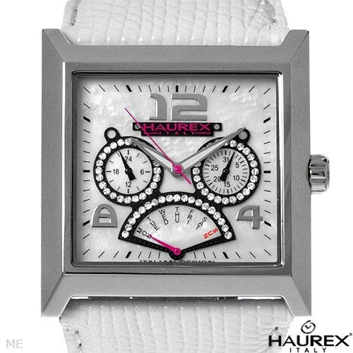 HAUREX ITALY..Crystal & Mother Of Pearl Day/Date Watch