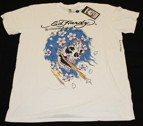 ED HARDY BLUE SKULL DESIGN T-SHIRT