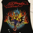 ED HARDY Flaming Dice Tank Top One Size Gorgeous