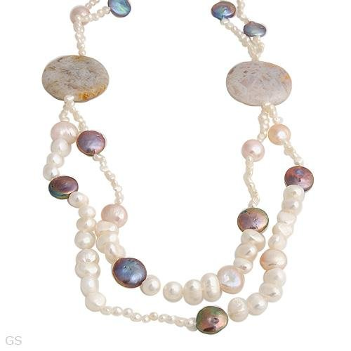 SUPERB NECKLACE WITH FRESHWATER PEARLS AND AGATES