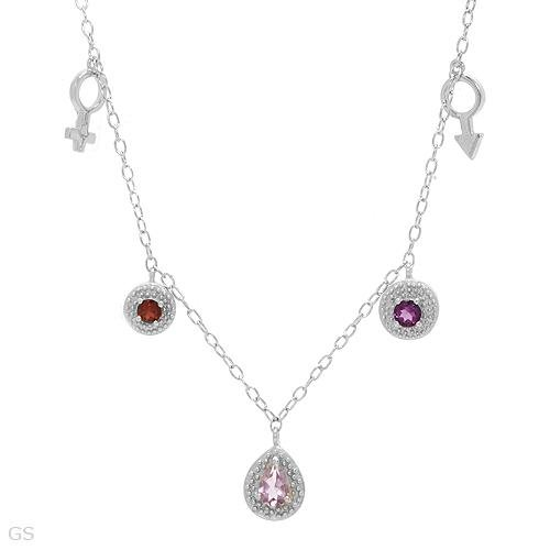GORGEOUS NECKLACE WITH AMETHYSTS AND GARNETS