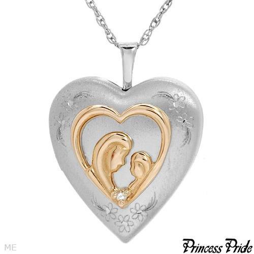 PRINCESS PRIDE 10K/Stl Sl w/Diamond Locket Mom & Child